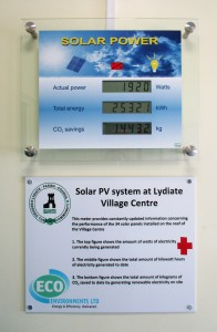 Solar panels meter at Lydiate Village Centre r