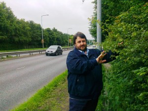 This was back in July 2012 when my old friend and then Cllr. Andrew Blackburn was trying once again to get Sefton Council to cut their hedge back as it was forcing pedestrians to walk on the grass verge right next to the very busy A59