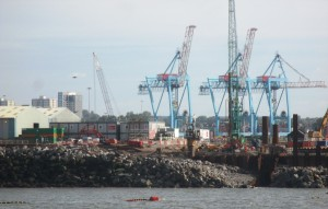 Seaforth Docks seen from the Mersey with work going on to construct the river berth for Post-Panamax ships.