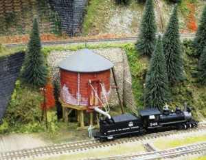 A typical American steam era scene in HO scale.