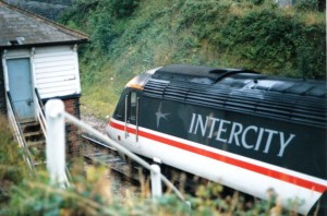 An Intercity HST from BR days around 1990 just coming off Brunel's famous bridge over the Tamar.