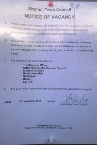 Notice of vacancy posted on Maghull Town Hall