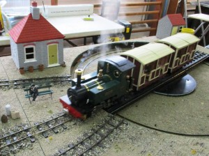 In steam - a delightful representation of a British narrow gauge train also on 32mm track.