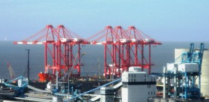 Red and blue cranes at Seaforth Docks