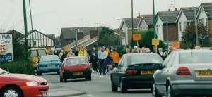 Thornton residents marching to get the new road built.