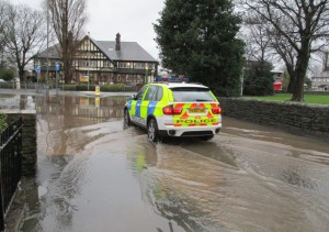 Cop car goes for a paddle at The Meadows