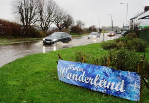 Not a winter wonderland on Boxing Day - outside Sefton Meadows Garden Centre.