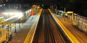 Aintree Station at night