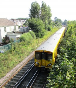 A Class 507 EMU arriving at Formby Station from Liverpool.