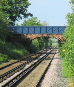 Pedestrian and road bridges where Poverty Lane crosses the line north of Maghull Station.