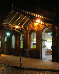The entrance/exit of Ormskirk Station at night.