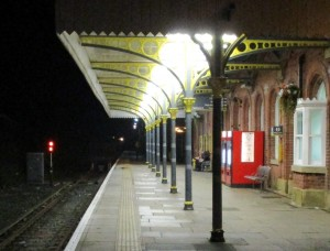Ormskirk Station at night.