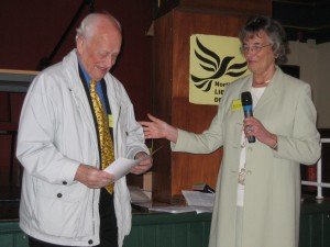 Charles Walker being present with his award by Maureen Fearn.