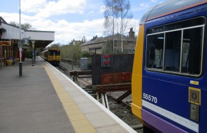 Ormskirk Station - The train in the foreground is Preston bound.