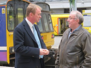 Tim Farron & David Pullin at Southport Station April 2016