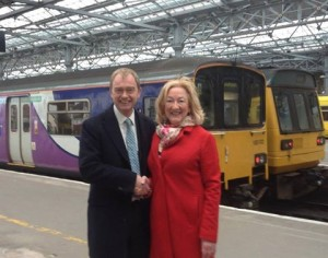 Tim Farron with Cllr. Pat Keith on Southport Station recently