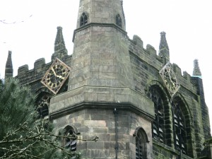 Two faced in Ormskirk (two clock faces that is) with both a tower and a steeple on its Parish Church.