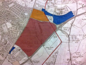 Labour's massive urban extension to Maghull. The rust coloured area was saved from development in 1998 but Labour have voted to build on it now on Sefton Council.