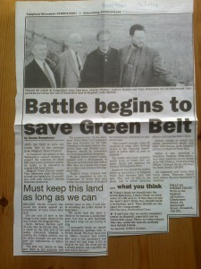 Press cutting from 1998 as we fought to protect the Maghull east site from development. We won then, Labour waved the white fag this time around.