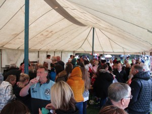 Packed into Scrummies refreshment tent