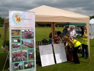 The Maghull in Bloom stall during setting up.