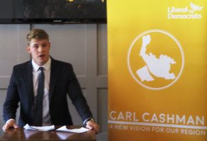 Carl making his launch speech to a packed out gathering of his supporters.