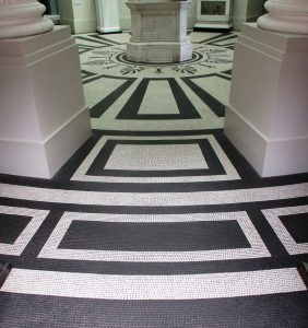 The floor of the south end is striking in black and white.