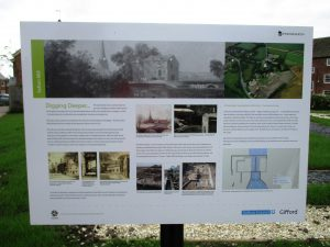 One of the two interpretation boards on site. Odd they are not inclined and they have sharp edges.