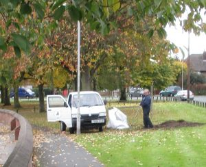 Lydiate PC grounds maintenance staff at work in Liverpool Road outside St. Gregs Church.