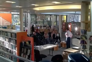 Author Frank Green addressing folks in Huyton Library