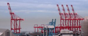 Peel's cranes at Liverpool 2's deep water river berth for colossal sized container ships, Seaforth.