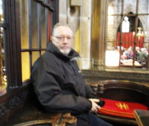 Me sat in my old choir stall  at Sefton Church. I recall sitting in this very seat - if memory serves at all of course - it was over 40 years ago!