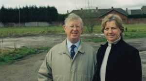 Jim with former local councillor Sylvia Mainey at the site of the former Lydiate Voluntary Youth Club prior to Lydiate Village Centre being built.
