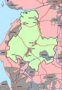 Map of the Borough of West Lancashire.